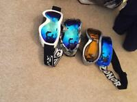 Ski boots, helmets and goggles