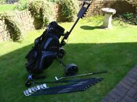 Full set of Regal Monarch graphite shaft golf clubs inc bag and trolley