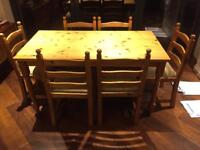 REDUCED - Solid Pine dinning table and 6 chairs