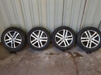 "Genuine Volkswagen alloy wheels 16"" condition is great. premium branded tyres with 6mm of tread"