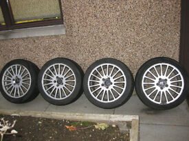 """Set of 4 Volvo 17"""" Alloy wheels with winter tyres. suitable S or V50, 60, 70 or 80"""
