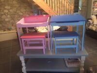 Children's desk and stool.