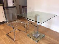 ITALIAN JET SQUARE GLASS DINING TABLE AND TWO CHAIRS