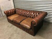 FREE DELIVERY USED GENUINE BROWN LEATHER CHESTERFIELD 3 SEATER SOFA