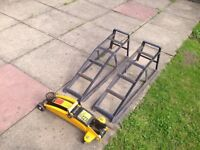Car Ramp x2 and Halfords 2 Ton Trolley Jack