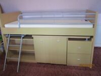 Child's Mid Height Bed with Desk, Chair and Loads of Storage