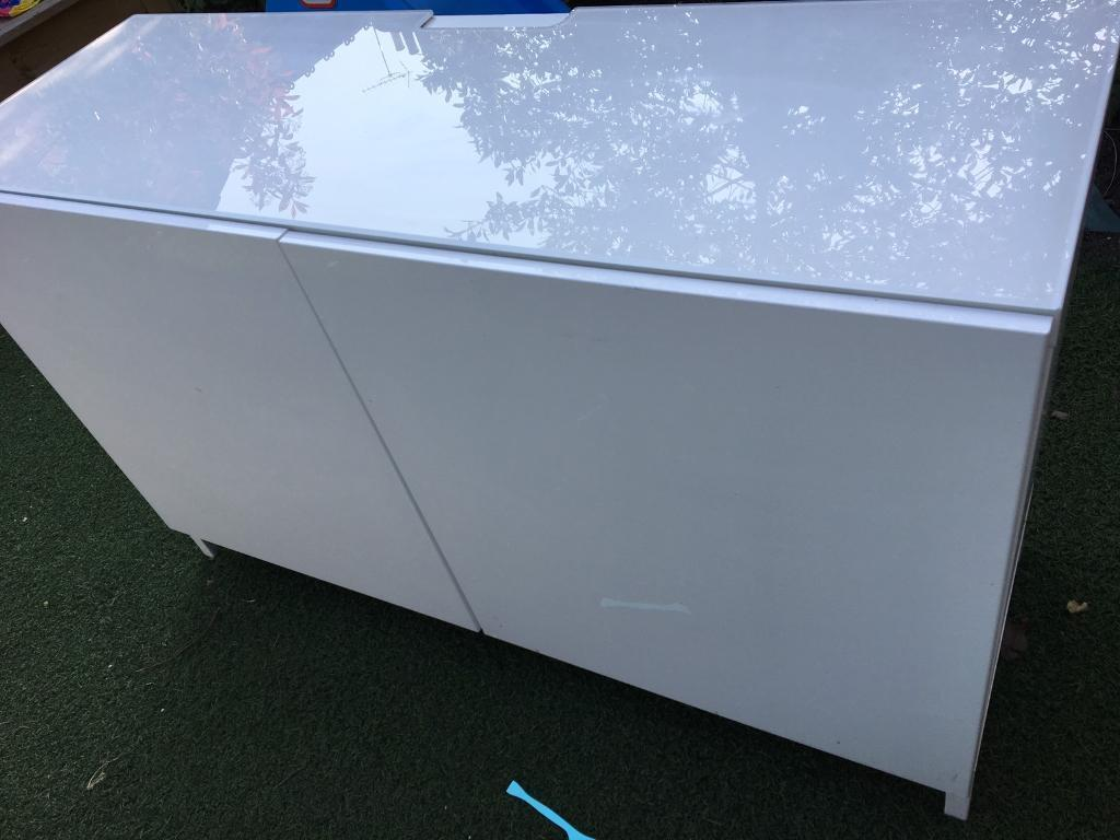 ikea besta cabinet gloss white glass top in uxbridge