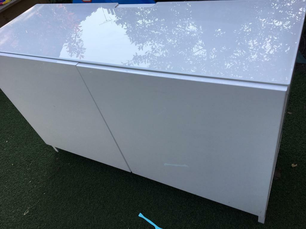 ikea besta cabinet gloss white glass top in uxbridge