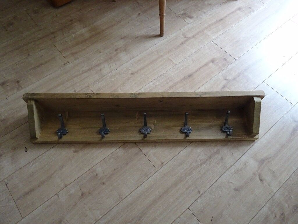 42 inch long reclaimed wooden coat rack with GNER coat hooks