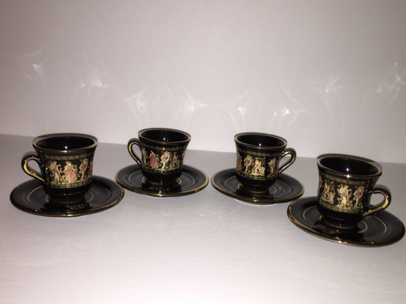 Set of (4) Greek Tea Cups and Saucers T  DAGOUNIS Hand Made in Greece 24 Karat