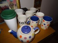 Cups , selection of unused mugs and a teapot £5 WHALLEY RANGE