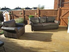 Brown Real Leather 3 seater Sofa and matching Chair