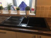 Black ceramic kitchen sink