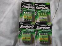 AAA batteries energizer plus rechargeable x4 packs as new unused