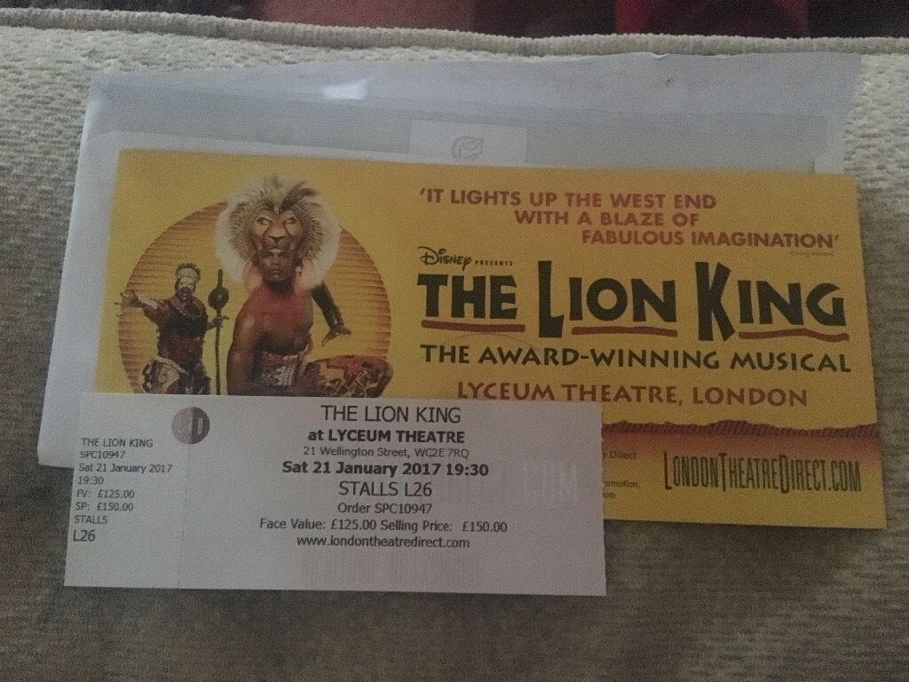 2 stalls tickets to the lion king  lyceum theatre in