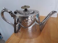 Elegant Antique Engraved Silver Plated Teapot with Gadrooned Lid