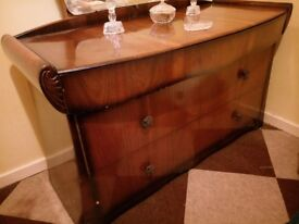 1930's wooden Dressing Table, with mirror and original decoration
