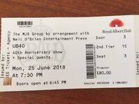2 X UB40 tickets for 40th anniversary show at Royal Albert Hall on 25/6/18