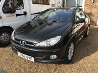 Peugeot 206 cc 1.6 convertible with remote locking long M.O.T and cd radio and only 2 prev owners