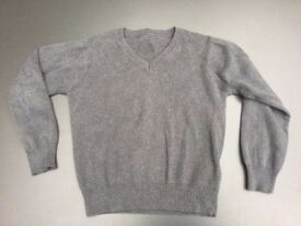 2x Grey V-neck School Jumpers from M&S, for age 4-5 yrs / chest 23in / height 110cm