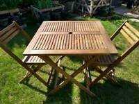 Folding garden table and chairs for 4 people