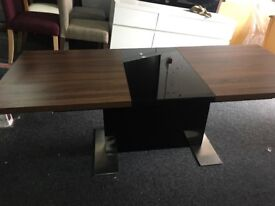 Harvey's New/Ex Display Vieux Extending Dining Table Black/Wood/Glass