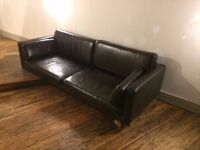 Ikea Sater - Leather look Sofa - Dark Brown - Amazing condition - 3 Seater - Hardly Used