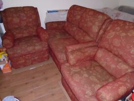 2 seater settee and matching single armchair + 1 matching recliner armchair