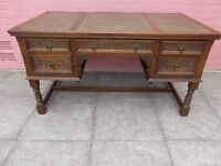 An Antique Green Leather Inlay Desk
