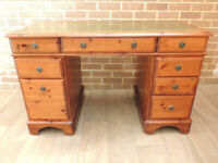 DUCAL Pine 3 part Leather Top Desk (UK Delivery)