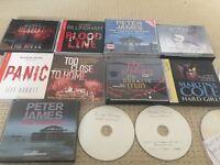 9 audio books , Peter James , Val mcdermid, John Grisham + many more