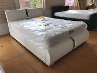 DESIGNER PU LEATHER WHIT OR BLACK DOUBLE AND KING SIZE BED FRAME WITH OPTION OF MATTRESS FLAT PACK