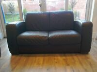 Two seater brown leather sofa (Dansk)