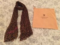 Louis Vuitton Leopard Print Scarf with Pink Logo