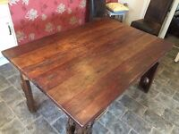 Stunning Reclaimed Hardwood Indoor Or Outdoor Dining Table With Chairs