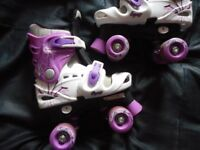 Adjustable roller skates for girls - size 13-3 (or 32 -36) - in Pink and White
