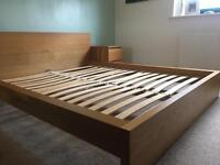 Ikea malm king size bed with 2 bed side drawer units