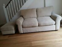 Two John Lewis Sofas and matching foot stool for sale.