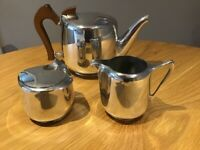 Retro Vintage Picquot ware Tea pot, milk jug and sugar bowl