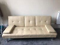 Leather fold down sofa bed, barely used. great condition, no scratches or stains. Must be uplifted