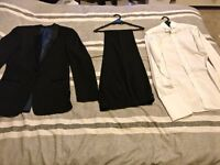 Tuxedo set including dinner suit, trousers and matching white wing tip shirt