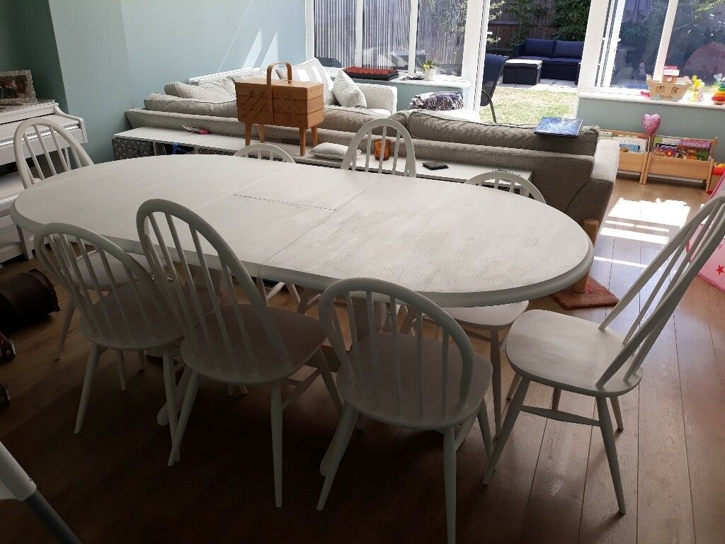 2614ad35016 Large Eight Seater Dining Table Chairs Set White Chalk Shabby Chic Vintage