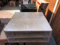SQUARE COFFEE TABLE WITH GLASS TOP AND DRAWER
