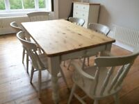 Table and six matching Chairs painted in little green with wooden top