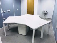 1 - POD OF 3 - 120 DEGREE DESKS IN WHITE - PEDESTALS & SCREENS ARE AVAILABLE