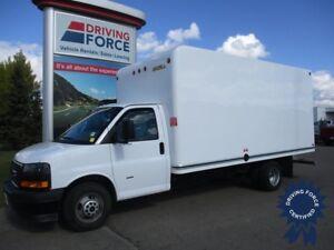 "2018 GMC Savana 3500 177"" WB 16' Cube Van DRW, UniCell Body"