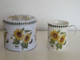 New Portmeirion Helianthus Annus (Sunflower) Botanic Mug and Storage Tin