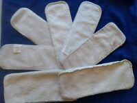 Nappy boosters- 5 bamboo, 2 cotton (size 2)
