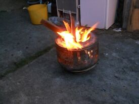 Upcycled washing machine drums Ideal Fire Pit or BBQ, also can be used with a wok Al-fresco Faijtia