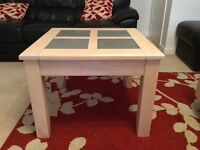 Light Oak Lamp table with Grey Stone inlay